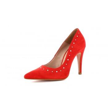 Zapato Stiletto Ante Rojo