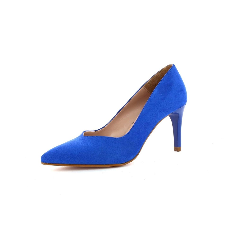 Zapato Tacón Clásico Ante Azul