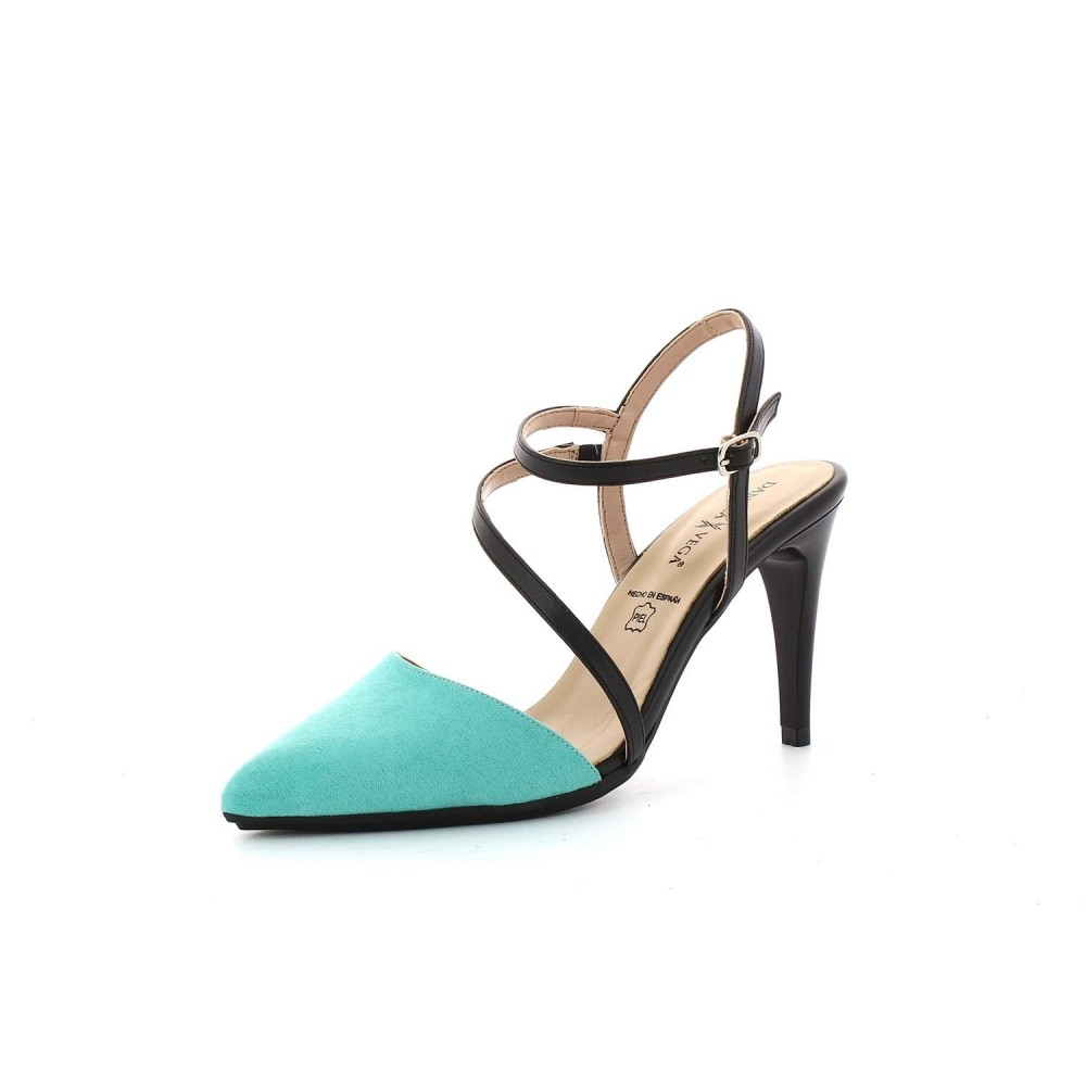 Zapato Tacón Napa Turquesa