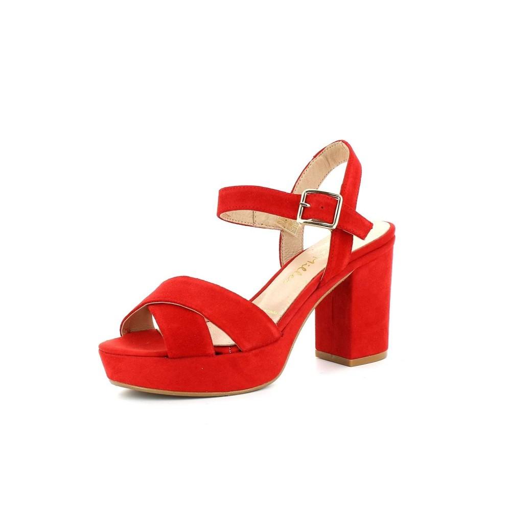 Sandalia Plataforma Ante Rojo