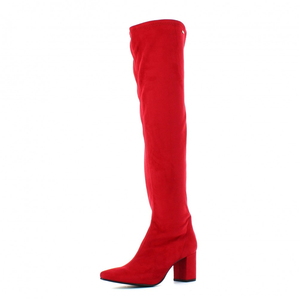 Botas altas tacón cuadrado rojo rubi Mustang