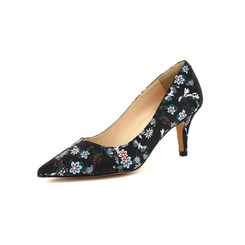 Eva López Zapato Salón Bajo Estampado Floral Negro