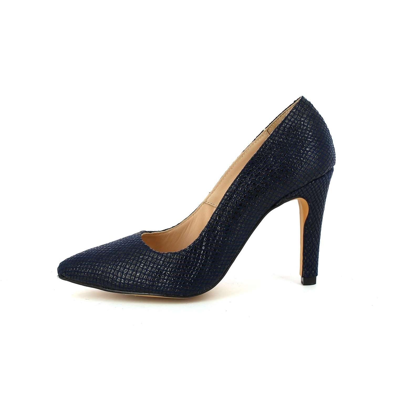 Azul López Eva Salón Zapato Tacón Serpiente Grabado Marino YYqrdxf