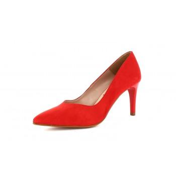 Zapato Tacón Clásico Ante Rojo