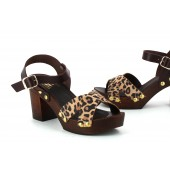 Nimásnimenos Sandalia Plataforma Piel Leopardo